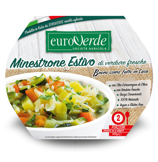 Summer minestrone with fresh vegetables. Made in Italy.