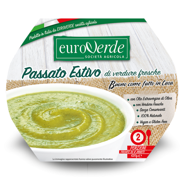 Summer soup with fresh vegetables. Made in Italy.