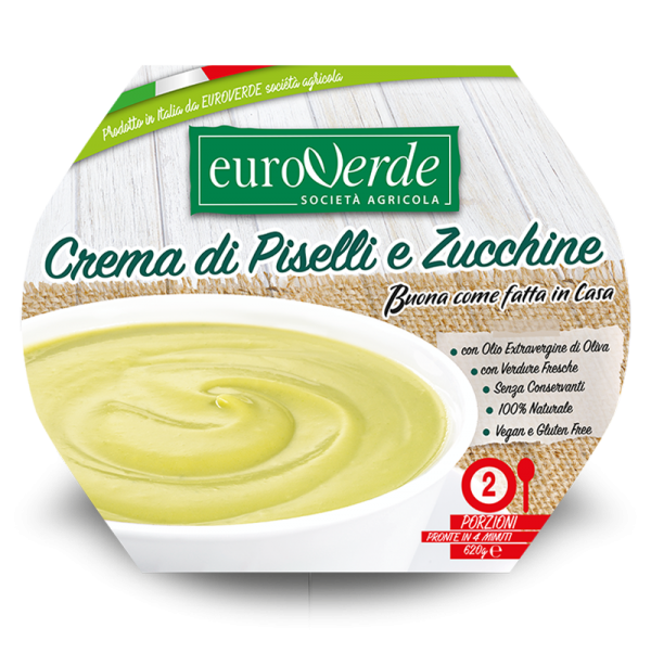creamy soup based of peas and zucchini